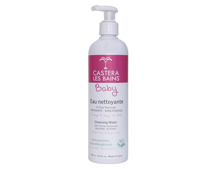 Eau Thermale Castéra Les Bains, Acqua Detergente senza risciacqua Bio, pelle sensibili bebè 400ml